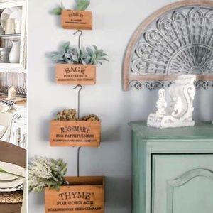 Vintage style hanging herb boxes set of 4